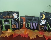 Hal-low-een Wood Blocks, Decoration, Spooky, Handpainted, Ghosts, Bats, Spider, Web