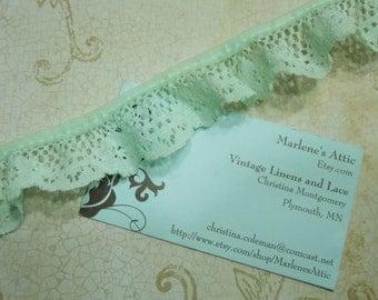 1 yard of 1 1/4 inch Mint Green Ruffled Chantilly lace trim for garter, wedding, bridal, lingerie, spring by MarlenesAttic - Item KK8