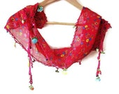CLEARANCE SALE - 50%  OFF - Red Cotton  Turkish Scarf  With Traditional Lace