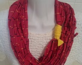 Recycled T Shirt Scarf Magenta Striped Eternity Infinity