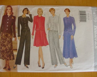 Vintage 1990s Butterick 4579, Misses Slightly Fitted Top, Flared Skirt, Pants, Multi Size 12-14-16