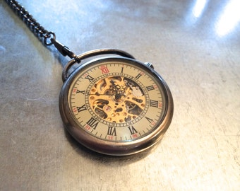 Mechanical Pocket Watch Necklace, Pocket Watch Necklace, Roman Numeral Pocket Watch, Timepiece
