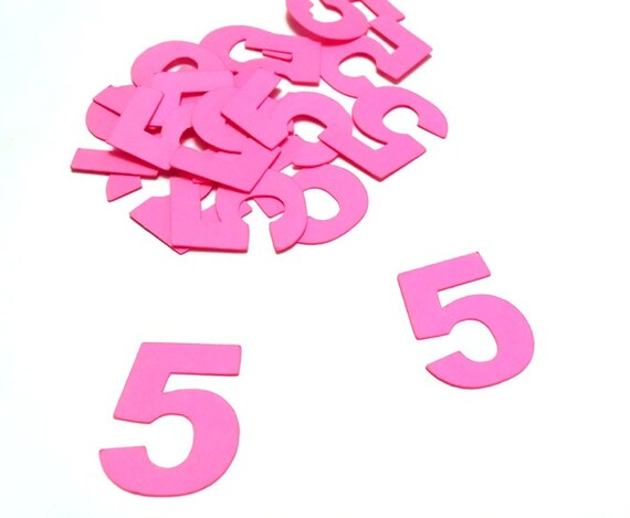 pink numbers or pink letters on etsy