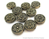 Antique Brass Beads 10mm Coins Abstract Vine and Flower Bronze Color 10 pc