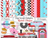 Retro 1950s Diner in Red, Aqua, Turquoise Digital Clip Art  for Digital Scrapbooking, Card Making, Phone Covers, Instant Download