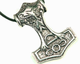 Thor's Hammer Necklace Pewter Pendant Viking Mjollnir Norse 1164Ax