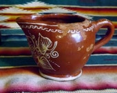 Antique Pottery Hand Painted Creamer Pitcher from Mexico