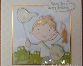 Handcrafted Fishing Boy Birthday Card by Claire Day