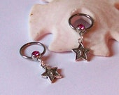 Nipple Rings - Set of 2 - Nipple Jewelry - Body Piercing - Silver Star Charm on Jeweled Ring - Choose Your Color