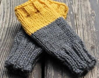 Bayport Mitts - Color blocked hand knit dark grey & mustard yellow fingerless mitts