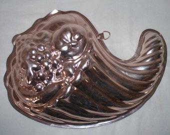Copper Cornucopia Jello Mold Vintage Kitchen