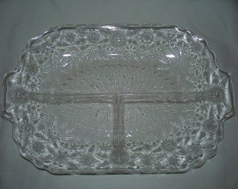 Indiana Pressed Glass Divided Tray Vintage