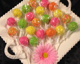 Neon Colors birthdsy 24 Cake Pops or any occasion