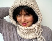 Natural Linen Double Spirit  Knit Hood Super soft Mixed    wool Woman Reversible   Hooded Cowl  White Chunky Hoodie