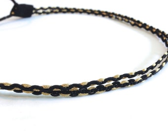 SALE // Black and Gold Double Strand Twist Braid Headband
