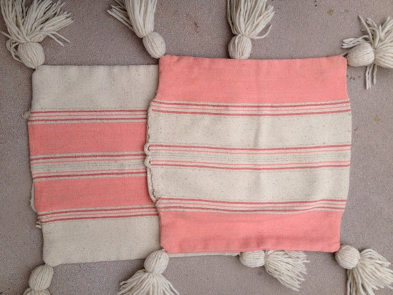 Reserve Becca Mexican woven cotton set of 2 peach pink covers with tassles Custom
