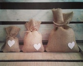 "Set of 12- Large (6""x9"") Burlap Heart Favor Bags w/ Jute Twine- MANY Colors Available-Country/Folk/Americana/Rustic/Weddings/Party"