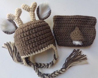 Newborn Crochet Deer Crochet Hat and Diaper Cover- Newborn Photo Prop Baby Boy Girl