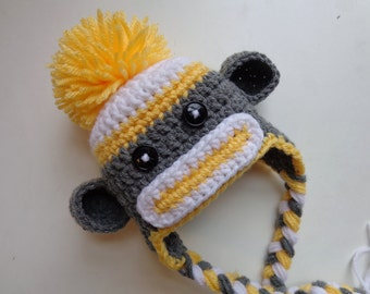 Newborn Crochet Yellow Sock Monkey Hat- Baby Boy Baby Girl- Photo Prop