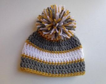 Ready to Ship- Newborn Crochet Boys Hat- Gray, Yellow, White- Photo Prop