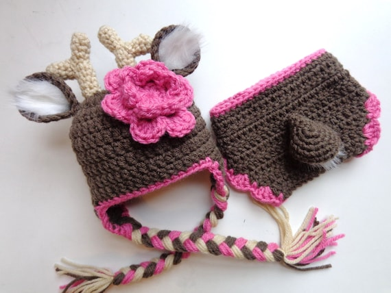 Free Crochet Deer Diaper Cover Pattern : Newborn Crochet Girl Tail Deer Hat and Diaper Cover Photo