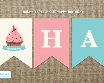 First Birthday Cupcake Banner - Cupcake Printable Party - Pink Birthday Printable - Girl Birthday Printable - Party Decorations