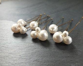 pearl clusters ivory,hair pin, wedding hair, bridal hair accessory, brides bridesmaid prom
