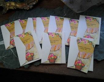 Wedding Shower Invitation Lot of 10 1970s Vintage Made in Ananheim California  3x5 cards & Envelopes
