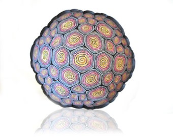 Bowl, Colorful Swirls Large Geometric Polymer Clay