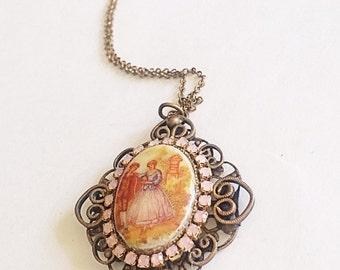 Vintage Pendant Necklace, Porcelain Portrait Pendant, Filigree Antique Brass Jewelry, Hand painted Portrait