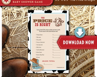 Cowboy Baby Shower Game | Price is Right | Western Baby Boy Shower Theme | Printable | Hundreds of Shower Games Available | INSTANT DOWNLOAD