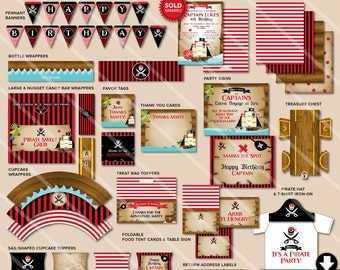 Pirate Birthday Party Decorations, Printable Pirate Party Package, Black and Red, See Shop for Pirate Birthday Invitation Listing