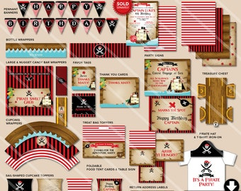 Boys Pirate Birthday Party Decorations | Printable Party Package | Black Red | Pirate Invitation Available | Instant Download