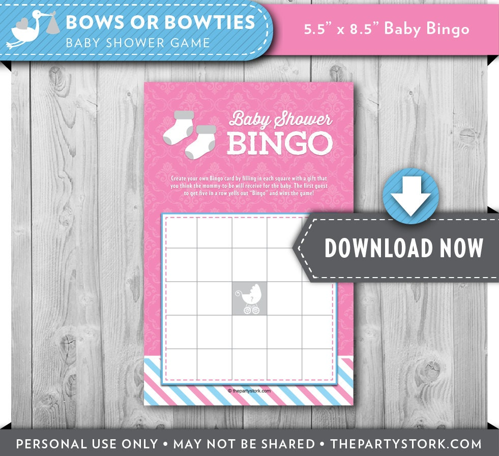 Baby Shower Reveal Party: Gender Reveal Party Baby Shower Bingo Game Printable Bingo