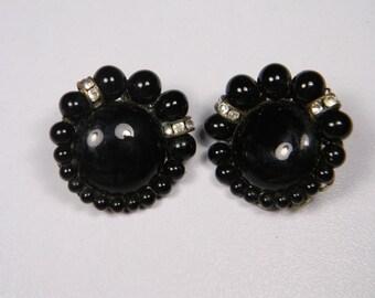 Vintage Japan Black Clip On Earrings, Clear Rhinestones