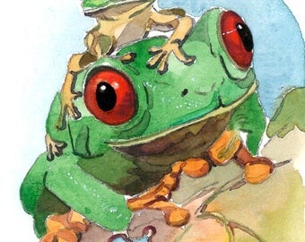 ACEO Limited Edition 5/25- Give me a ride, Frog art print
