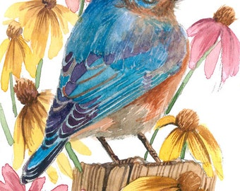 ACEO Limited Edition 2/25- Bluebird in wild flowers