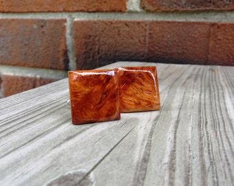 Amboyna Burl Wood Cuff Links Handmade
