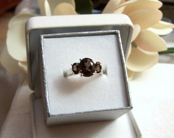 Altered Avon Ring Sterling Authentic Vintage Hallmarked 3 Stone Genuine Smoky Quartz Gemstone