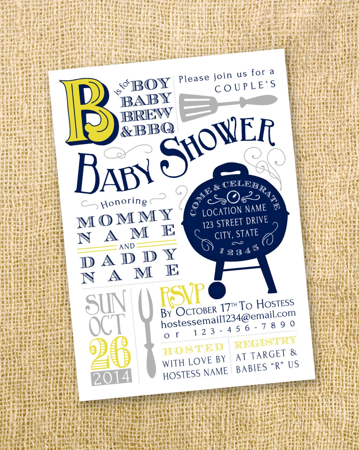 bar b que vintage baby shower invitation by gretchee on etsy