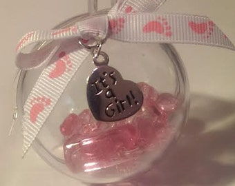 1 Acrylic Ball with Baby Shower Charms Sealed Inside Gift Topper or Tree Ornament Pink Its a Girl