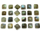 GCF-1208 - Labradorite Faceted Cabochon - 8x8mm Square - Gemstone Cabochon - AA Quality - 1 Pc
