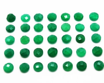 GCF-1029 - Green Onyx Cabochon - Round 8mm - Gemstone Cabochon - Faceted Cabochon - 1 Pc