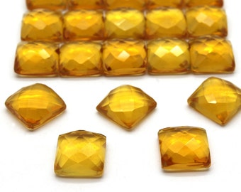 GCF-1333 - Citrine Faceted Cabochon - 12x12mm Square - November Birthstone - AA Quality - 1 Pc