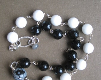 Black and White Necklace - Onyx and White Glass