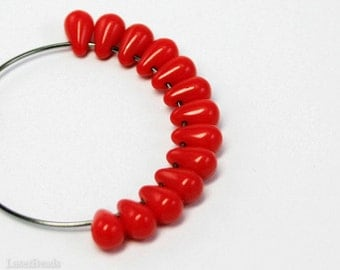 Bright Red Teardrops, Small Czech Glass Beads 6mm - 50pc