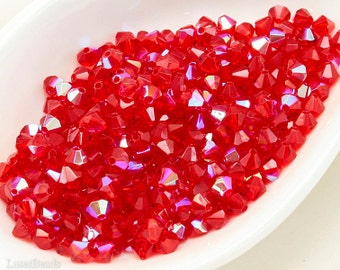 Bicone Crystals, Czech Scarlet Red AB Faceted Beads, Machine Cut (50) 3.5mm last