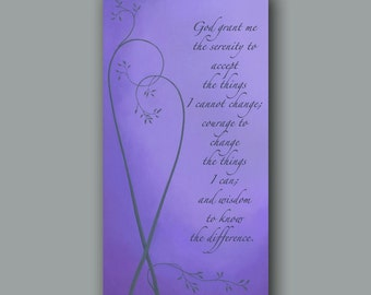 Purple bedroom decor, Canvas art print, Serenity prayer, Large wall art, Canvas quote, Home decor gift BFF, Purple wall art, Personalized