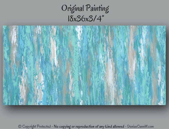 Large Canvas Wall Art Teal Abstract Artwork Turquoise Aqua