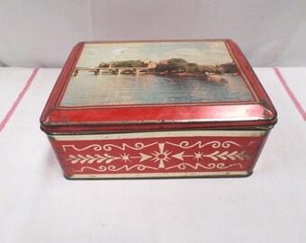 French Vintage Tin Lithograph Box 50s Paris (w937)